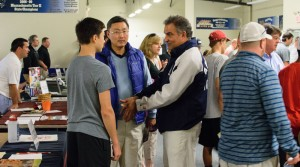 Players and parents talking with Prep School coaches and admissions staff during the HNIB Prep Fair